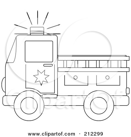 Royalty-Free (RF) Clipart Illustration of a Coloring Page Outline Of A Fire Truck With A Ladder by Pams Clipart