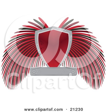 Clipart Illustration of a Heraldic Shield With Blank Text Space And Black And Red Wings by elaineitalia