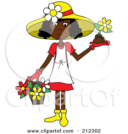 Royalty-Free (RF) Clipart Illustration of a Black Lady In A Hat, With Flowers In A Basket And A Flower In Her Hand by Pams Clipart