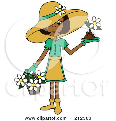 Royalty-Free (RF) Clipart Illustration of an Indian Lady In A Hat, With Flowers In A Basket And A Flower In Her Hand by Pams Clipart