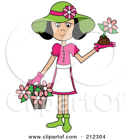 Royalty-Free (RF) Clipart Illustration of a Black Haired Lady In A Hat, With Flowers In A Basket And A Flower In Her Hand by Pams Clipart