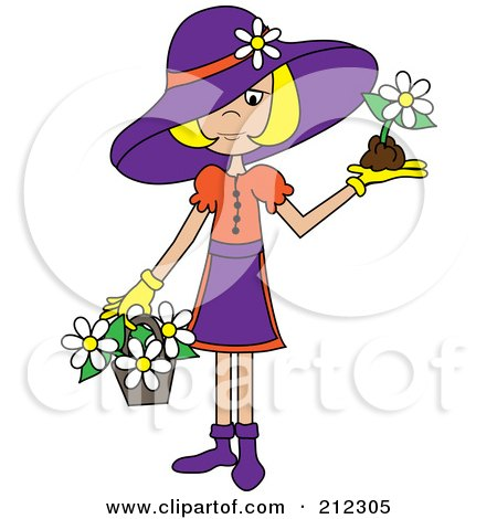 Royalty-Free (RF) Clipart Illustration of a Blond Lady In A Hat, With Flowers In A Basket And A Flower In Her Hand by Pams Clipart