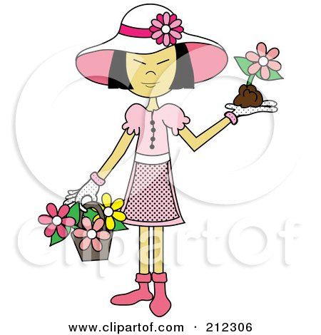 Royalty-Free (RF) Clipart Illustration of an Asian Lady In A Hat, With Flowers In A Basket And A Flower In Her Hand by Pams Clipart