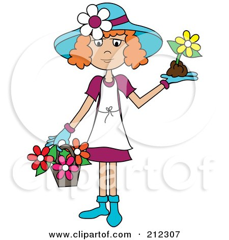 Royalty-Free (RF) Clipart Illustration of a Red Haired Lady In A Hat, With Flowers In A Basket And A Flower In Her Hand by Pams Clipart