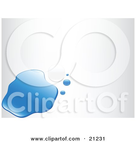 Clipart Illustration of a Single White Pearl Beside A Puddle And Droplets Of Blue Water, Over A White Background by elaineitalia