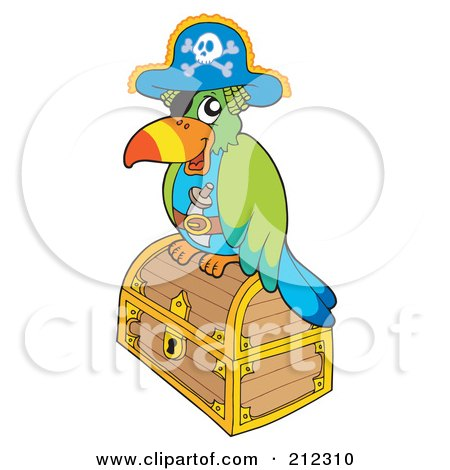 Royalty-Free (RF) Clipart Illustration of a Pirate Parrot On A Closed Treasure Chest by visekart