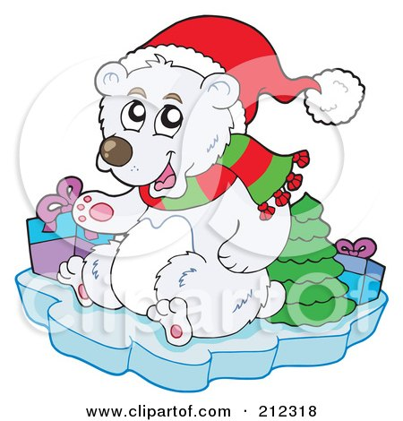 Royalty-Free (RF) Clipart Illustration of a Christmas Polar Bear With Presents And A Tree On An Iceberg by visekart