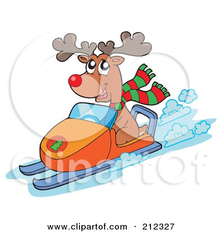 Royalty-free clipart picture of a reindeer riding a snowmobile,