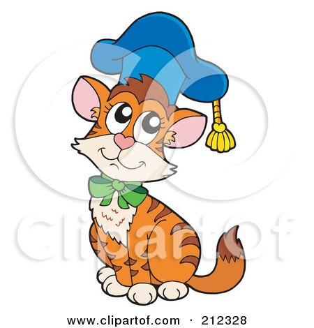 Royalty-Free (RF) Clipart Illustration of a Cat Professor Wearing A Blue Hat by visekart