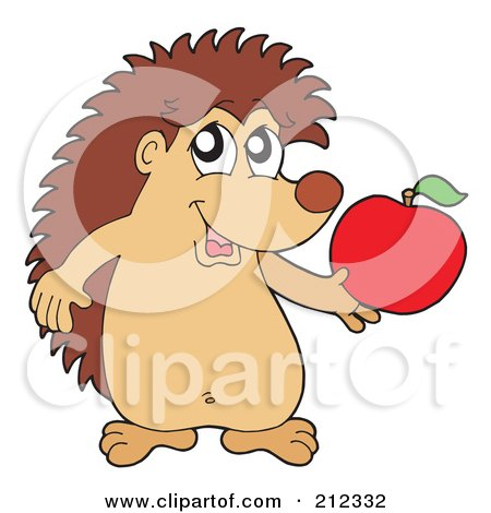 Royalty-Free (RF) Clipart Illustration of a Cute Hedgehog Holding An Apple by visekart