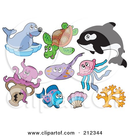 Royalty-Free (RF) Clipart Illustration of a Digital Collage Of A Seal, Sea Turtle, Orca, Octopus, Ray, Fish, Shell, Jellyfish And Coral by visekart