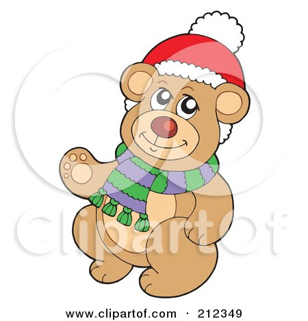 Royalty-Free (RF) Clipart Illustration of a Christmas Teddy Bear Wearing A Scarf by visekart