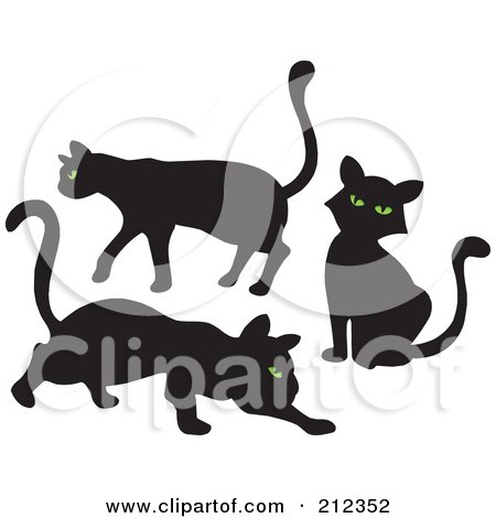 Royalty-Free (RF) Clipart Illustration of a Digital Collage Of Three Green Eyed, Black Cats by visekart