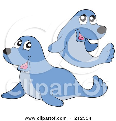Royalty-Free (RF) Clipart Illustration of a Digital Collage Of Two Blue Seals by visekart