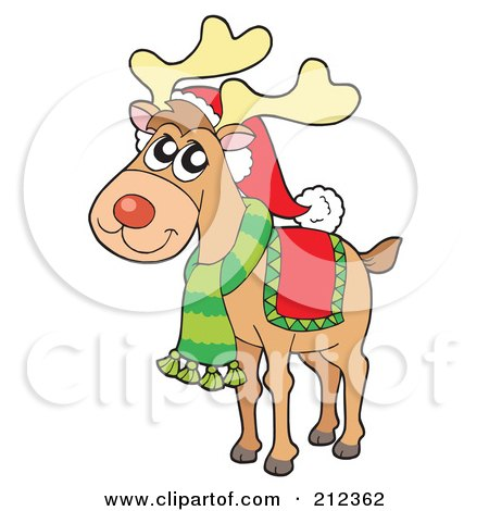 Royalty-Free (RF) Clipart Illustration of a Christmas Elk Wearing A Scarf by visekart