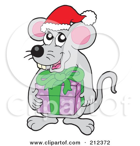 Royalty-Free (RF) Clipart Illustration of a Christmas Mouse Holding A Gift by visekart