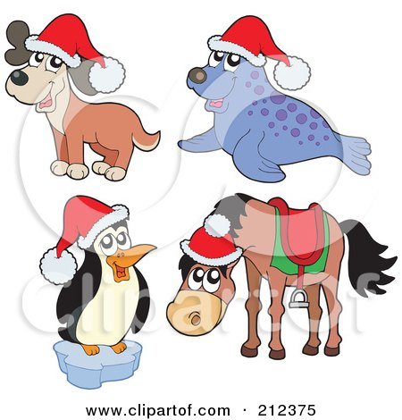 Royalty-Free (RF) Clipart Illustration of a Digital Collage Of A Christmas Dog, Seal, Penguin And Horse by visekart