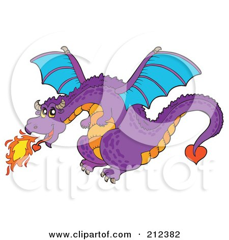Royalty-Free (RF) Clipart Illustration of a Purple Fire Breathing Dragon In Flight by visekart