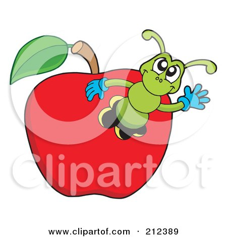 Royalty-Free (RF) Clipart Illustration of a Green Worm Waving From An Apple by visekart