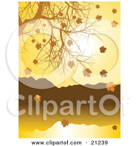 Clipart Illustration of a Nature Background Of Golden Autumn Leave Falling Off Of A Nearly Bare Tree Over A Lake by elaineitalia