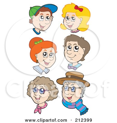 Royalty-Free (RF) Clipart Illustration of a Digital Collage Of Children, Adults And Seniors by visekart