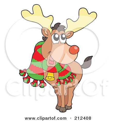 Royalty-Free (RF) Clipart Illustration of a Happy Christmas Elk Wearing A Scarf by visekart