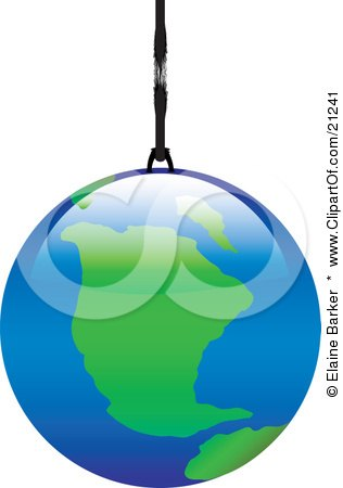 Clipart Illustration of The Planet Earth Hanging By A Thread, Or A Planet Ornament by elaineitalia