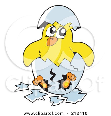 Royalty-Free (RF) Clipart Illustration of a Yellow Chick Breaking Out Of An Egg by visekart