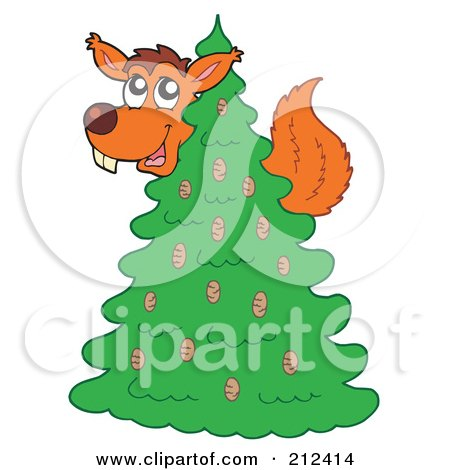 Royalty-Free (RF) Clipart Illustration of a Squirrel In An Evergreen Tree by visekart