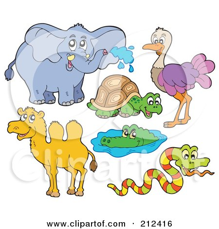 Digital Collage Of An Elephant, Tortoise, Ostrich, Camel, Alligator And Snake Posters, Art Prints