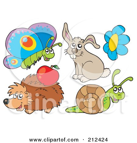 Royalty-Free (RF) Clipart Illustration of a Digital Collage Of A Butterfly, Rabbit, Flower, Hedgehog And Snail by visekart