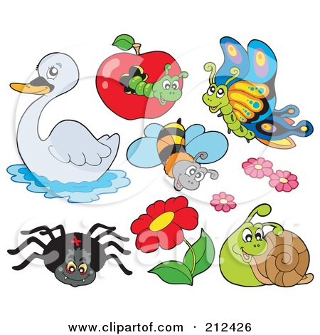 Royalty-Free (RF) Clipart Illustration of a Digital Collage Of A Swan, Caterpillar, Butterfly, Bee, Flowers, Snail And Spider by visekart