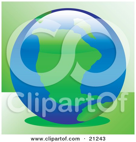 Clipart Illustration of Green Continents And Blue Seas On Planet Earth, Over A Green Background by elaineitalia