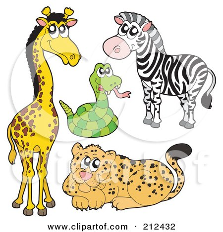 Royalty-Free (RF) Clipart Illustration of a Digital Collage Of A Cute Giraffe, Snake, Zebra And Leopard by visekart