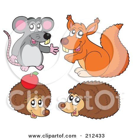 Royalty-Free (RF) Clipart Illustration of a Digital Collage Of A Rat, Squirrel And Hedgehogs by visekart