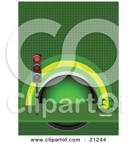 Clipart Illustration of a Red Traffic Light In Front Of A Green And Yellow Rainbow Splashing Into Oil Over A Green Background by elaineitalia