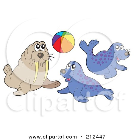 Royalty-Free (RF) Clipart Illustration of a Digital Collage Of A Playful Walrus And Seals by visekart