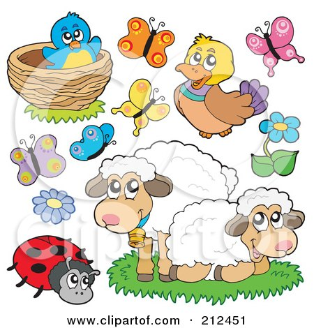 Royalty-Free (RF) Clipart Illustration of a Digital Collage Of A Bird In Nest, Butterflies, Duck, Sheep, Ladybug And Flowers by visekart