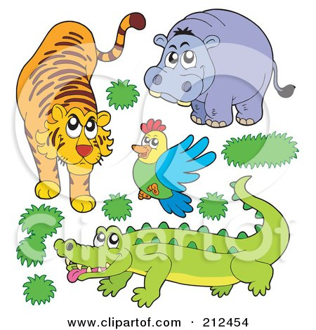 Royalty-Free (RF) Clipart Illustration of a Digital Collage Of A Tiger, Hippo, Bird And Crocodile by visekart