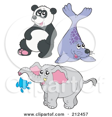 Royalty-Free (RF) Clipart Illustration of a Digital Collage Of A Cute Panda, Seal And Elephant by visekart