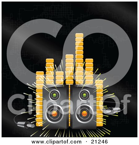 Clipart Illustration of Two Loud Stereo Speakers Blaring Music On A Black Background With Orange Equalizer Or Volume Lines by elaineitalia