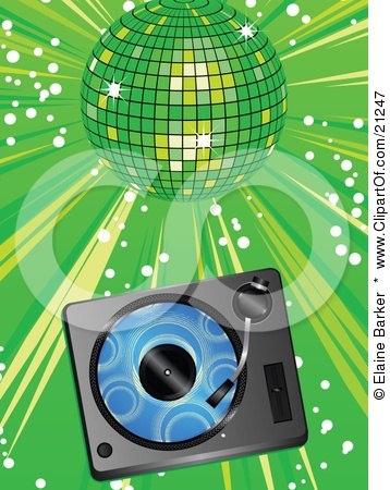 Clipart Illustration of a Blue Vinyl Record Playing In A Record Player Over A Green Background Under A Shiny Disco Ball At A Party by elaineitalia