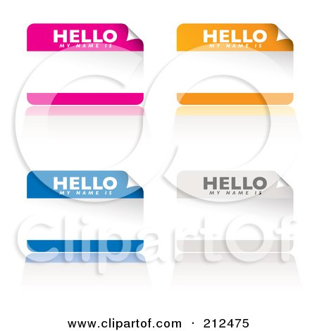Royalty-Free (RF) Clipart Illustration of a Digital Collage Of Pink, Orange, Blue And White My Name Is Stickers by michaeltravers