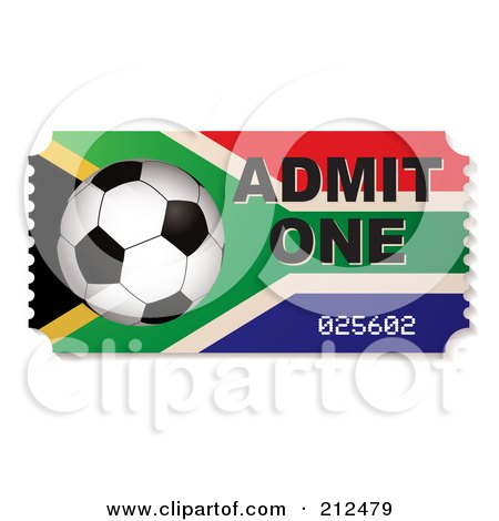 Royalty-Free (RF) Clipart Illustration of a Soccer Ball And South African Admit One Ticket by michaeltravers