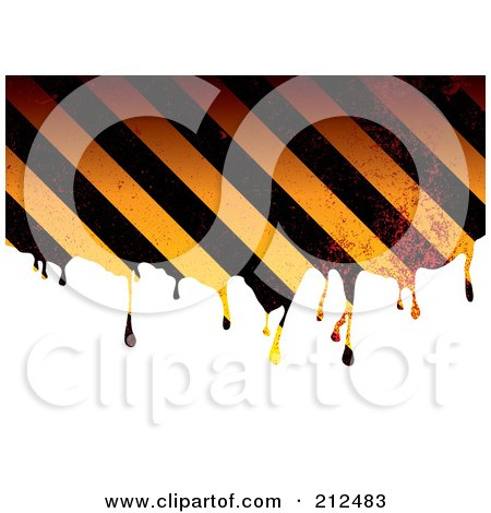 Royalty-Free (RF) Clipart Illustration of Grungy Dripping Hazard Stripes by michaeltravers