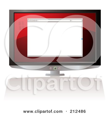 Royalty-Free (RF) Clipart Illustration of a Blank Web Browser On A Computer Screen by michaeltravers