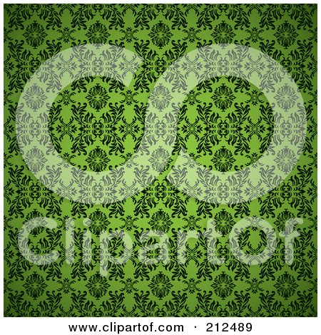Royalty-Free (RF) Clipart Illustration of a Green Seamless Gothic Pattern Background by michaeltravers
