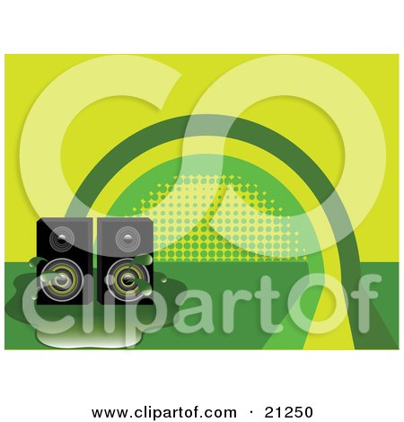 Clipart Illustration of Two Stereo Speakers In A Puddle Over A Green And Yellow Rainbow Background by elaineitalia