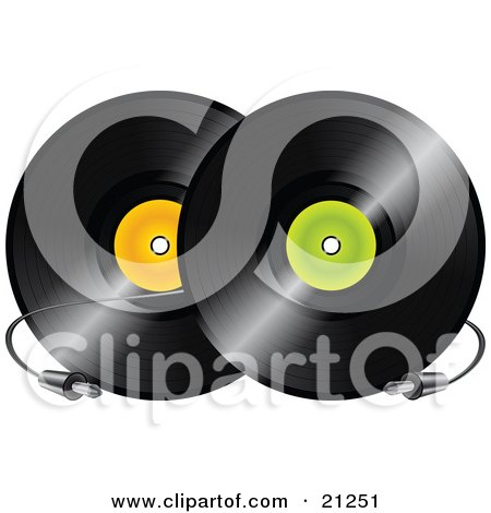 Clipart Illustration of Two Black Vinyl Records With Orange And Green Labels And A Cable Between Them by elaineitalia
