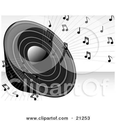 Clipart Illustration of a Loud Black Radio Speaker Blaring Loud Music With Notes by elaineitalia